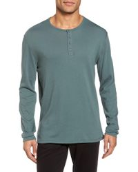 Vince - Raw Edge Long Sleeve Henley T-shirt - Lyst
