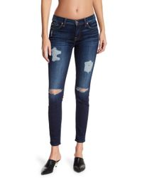 7 For All Mankind - Distressed Ankle Skinny Jeans - Lyst