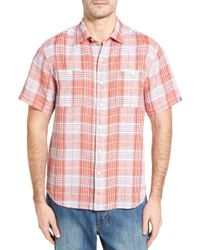 Tommy Bahama - Caldera Plaid Regular Fit Linen Sport Shirt - Lyst