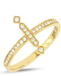 Bony Levy - 18k Yellow Gold Pave Diamond Vertical Bar Ring - Size 7 - Lyst