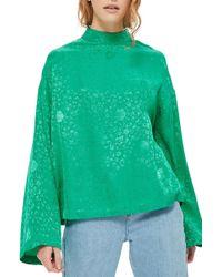 TOPSHOP | Jacquard Kimono Sleeve Top | Lyst