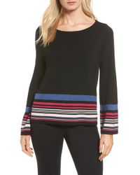 Vince Camuto - Stripe Bell Sleeve Sweater - Lyst