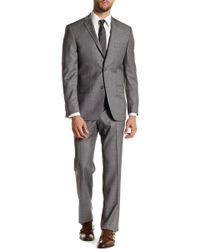 Spurr By Simon Spurr - Gray Sharkskin Two Button Notch Lapel Wool Suit - Lyst