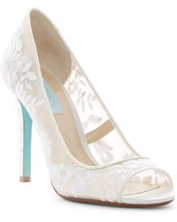 Betsey Johnson - Mave Embroidered Mesh Peep Toe Pump - Lyst