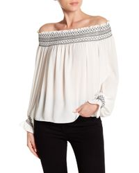 Laundry by Shelli Segal - Off Shoulder Balloon Sleeve Top - Lyst