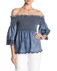 Michael Stars - Smocked Off-the-shoulder Blouse - Lyst