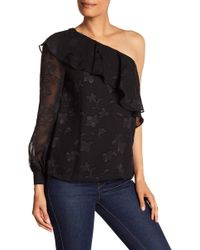 Cece by Cynthia Steffe - One Shoulder Ruffle Lace Blouse - Lyst