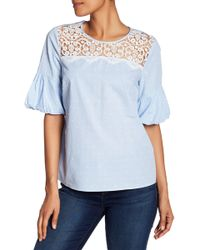 Cece by Cynthia Steffe - Lace Trim Tee - Lyst