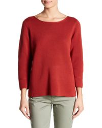 Eileen Fisher - Silk Blend Bateau Neck Knit Sweater - Lyst