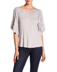 Bobeau - Stripe Flounce Sleeve Shirt - Lyst