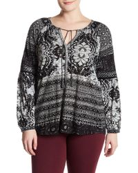 Lucky Brand - Print Tassel Blouse (plus Size) - Lyst