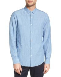Theory - Murrary Indy Regular Fit Solid Cotton & Linen Sport Shirt - Lyst