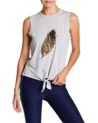 Warrior by Danica Patrick Active | Feather Graphic Tie Front Tank | Lyst