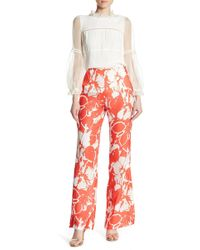 ABS By Allen Schwartz - Floral Patterned Split Wide Leg Pants - Lyst