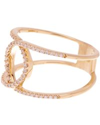 Bony Levy - 18k Yellow Gold Pave Diamond Interlocking Double-row Ring - 0.21 Ctw - Lyst