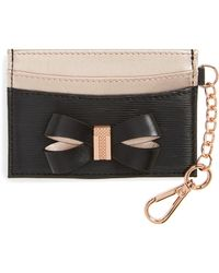 Ted Baker - Meira Bow Leather Card Holder With Chain - Lyst