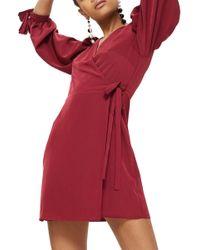 TOPSHOP - Tie Cuff Wrap Minidress - Lyst