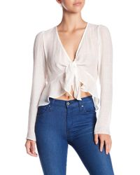 Soprano - Long Sleeve Front Tie Blouse - Lyst