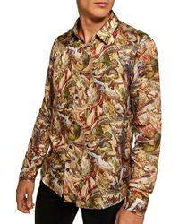 TOPMAN - Dragon Print Shirt - Lyst