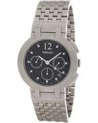 Versace - Stainless Steel Case Black Dial Stainless Steel Bracelet Watch - 40mm - Lyst