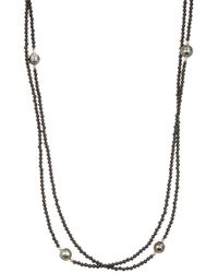 Tara Pearls - Sterling Silver 8-10mm Tahitian Circle Pearl Onyx Strand Necklace - Lyst