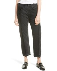 Rag & Bone - /jean Two Tone Crop Jeans (black Magnolia) - Lyst