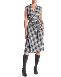 Vince - Shadow Plaid Wrap Dress - Lyst
