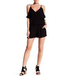Breathless - Surplice Ruffle Trim Romper - Lyst