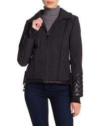 Guess - Quilted Trim Stowable Hood Jacket - Lyst