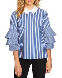 Cece by Cynthia Steffe - Ruffle Sleeve Stripe Top - Lyst