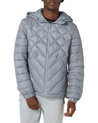 TOPMAN - Hooded Quilted Jacket - Lyst