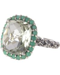 Stephen Dweck - Sterling Silver Cushion Cut Faceted Green Amethyst Ring - Size 8 - Lyst