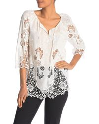 724732cea695a Lyst - Elie Tahari Alondra Lace-trimmed Long Sleeve Shirt in Black