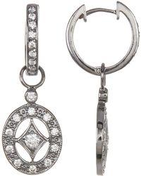 Adornia - Swarovski Crystal Accented Cutout Drop Earrings - Lyst