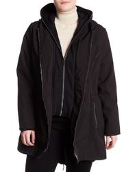 French Connection - Full Zip Hooded Rain Coat (plus Size) - Lyst