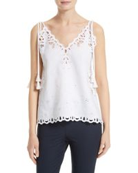 Theory - Wiola Embroidered Eyelet Tank - Lyst