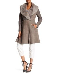 Elie Tahari - Tabitha Genuine Lamb Shearling Lined Collar Coat - Lyst