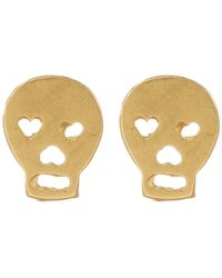 Dogeared - 14k Yellow Gold Plated Sterling Silver 'it's The Little Things' Skull Stud Earrings - Lyst