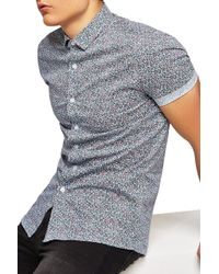 TOPMAN - Ditsy Muscle Short Sleeve Shirt - Lyst