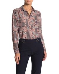 Pleione Covered Button Front Long Sleeve Blouse - Multicolor