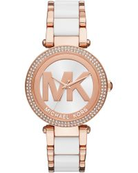 MICHAEL Michael Kors - Women's Parker Analog Quartz Two-tone Bracelet Watch, 39mm - Lyst
