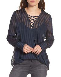 Trouvé - Sheer Shadow Stripe Top - Lyst