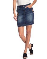 b6aff6e74d Mother The Back Slit Midi Fray Denim Skirt in Blue - Lyst