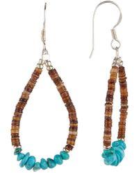 Peyote Bird - Sterling Silver Turquoise & Hieshi Bead Teardrop Dangle Earrings - Lyst