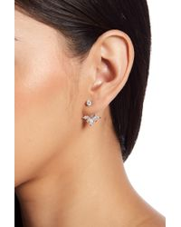 Shashi - 18k White Gold Plated Sterling Silver Prong Set Cz Wing Jacket Earrings - Lyst