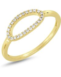 Bony Levy - 18k Yellow Gold Diamond Detail Open Oval Ring - 0.10 Ctw - Lyst