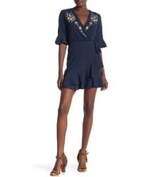 Angie - Surplice Neck Embroidered Dress - Lyst