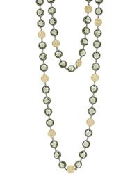 Freida Rothman - Rose D'or Brilliance 14k Yellow Gold & Black Rhodium Plated Pave Cz Long Strand Necklace - Lyst