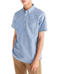 J.Crew - Short Sleeve Stretch Chambray Popover Shirt - Lyst