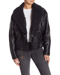 9e36d245d9f16 Free People - Halen Vegan Leather Removable Faux Fur Collared Jacket - Lyst